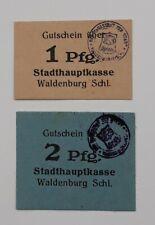 Waldenburg (Schlesien) 1 Pfg.+2 Pfg. o.D.Grab.:W 4.2, 2 Scheine. fast ksfr.