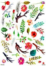 "US SELLER, wristband tattoo summer leaf flower 8.25"" large arm temporary tattoo"