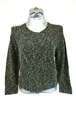 NWT EILEEN FISHER Organic Black and White Speckled Tweed Knit Sweater Women's M