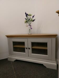 Eton Soft Grey & Oak Corner TV Unit / Entertainment Stand / Media Unit