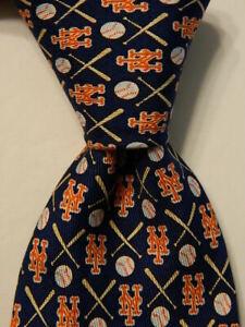 VINEYARD VINES Martha's Boys Youth 100% Silk Necktie METS BASEBALL Blue PERFECT
