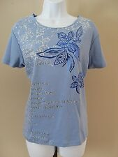 Northcrest Size L Blue Kipling Short Sleeve Knit Top