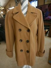Pea Coat Tan Camel Lands End sz 16 Womens Dress Wool Nylon Recycled Cashmere
