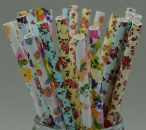 Paper straws party wedding flower floral pastel vintage rose UK Quantity x 25