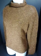 Large Chaps Brown Woman's Sweater Wool Blend Long Sleeve, Turtle Neck