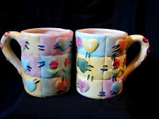 PAIR Vintage Hermitage Pottery Ken Mills Limited Ed Patchwork Quilted Mugs Cups