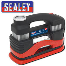 SEALEY MAC03 TYRE INFLATOR MINI AIR COMPRESSOR WITH WORK LIGHT TWIN CYLINDER 12V