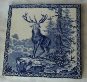 CHARMING ENGLISH ANTIQUE LATE 19TH C TILE DEER STAG IN WOODLAND BLUE & WHITE