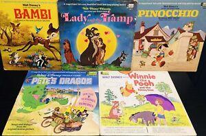 Lot Of 5 Walt Disney 33 1/3 1969 Lady & The Tramp, Bambi, Pinocchio, 1965 Pooh