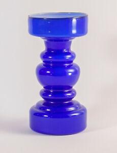 Scandinavian art glass Blue Cased Hooped Vase (Lindshammar, Ryd - Swedish style)