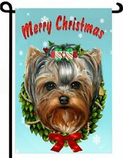 YORKIE painting GARDEN FLAG Dog Art Yorkshire Terrier Christmas tree puppy NEW
