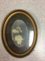 Antique Oval Wood Framed Photo Little Girl