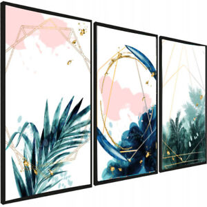 Set of 3 Abstract Prints Botanical Poster leafs Green Navy Gold Wall Decor A3 x3