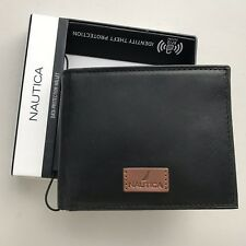 Nautica Mens Leather RFID Passcase Bifold Wallet Black Identity Theft Protection