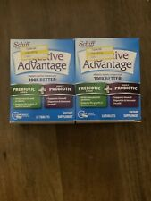 LOT of 2! Schiff Digestive Advantage 32 Tablets Prebiotic Fiber+Daily Probiotic