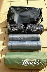 Blacks Weekend Festival Camping Tent 2 Sleeping Bags and 2 Roll sleeping mat set