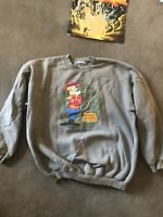 Dudley Do Right Baggy Sweatshirt, Olive, Size XL, Rocky & Bullwinkle MemorabilIa