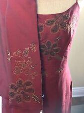 Ann Taylor STUNNING NWT 4 Two-Piece Dress W/ Shawl~Garnet Red~All Year,100% Silk