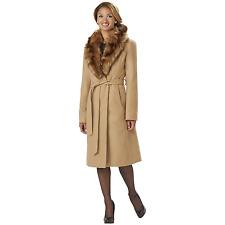 Women's Outdoor Spirit Belted Coat with Fur-Look Collar Camel M #NKK4U-949