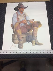 "Gordon Snidow Print ""Baked Beans And Beer ""1981 Coors Beer Cowboy Print."