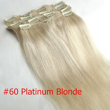 """Hotest Sell 15"""" 100% Remy Clip in Real HUMAN HAIR EXTENSIONS Straight 70g #60"""