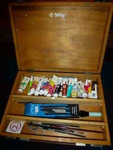 vintage wooden artists kit art box & gouache paints Reeves Rowney Winsor Newton