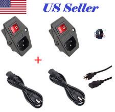 2X Power Socket Panel mount 10A 120V Inlet Module Plug IEC320 +2X1.2m Power Cord