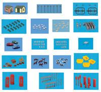 N gauge Modelscene unpainted figures, accessories and plastic model kits (19)