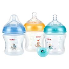Nuby 3-Count Natural Touch 9-oz Printed Baby Bottles w/ ortho pacifier BPA free