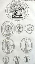 Statua Medaglia Leda e Antica Nemesi Montfaucon Roma Incisione XVIII