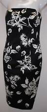 ESCADA BLACK WHITE FLWRS STRAPLESS SATIN DRESS 38 $1280