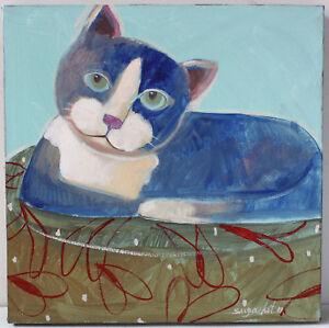 Original Cat Painting On Canvass by Thai Artist, Supachet 30cm x 30cm