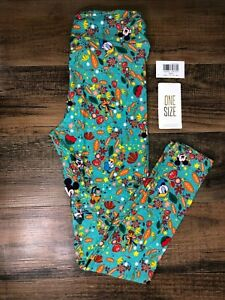 NWT Disney LulaRoe OS One Size Leggings Donald Duck Mickey Mouse Floral 49996