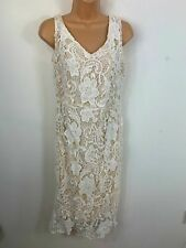 BNWT WOMENS WHITE SMART/CASUAL SLEEVELESS LACE DETAIL A LINE DRESS SIZE X LARGE