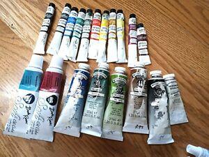 LOT of 19 Oil Paints Bob Ross Soft Oil Color Winsor Newton Permanent Pigment