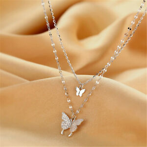 Elegant 925 Silver Double Layer Butterfly Pendant Necklace Women Clavicle Chain