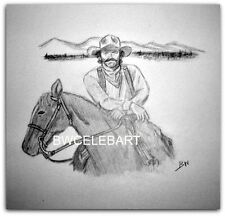 TOM SELLECK GRAPHITE  ORIGINAL PENCIL DRAWING WESTERN MOVIES QUIGLEY MAGNUM PI