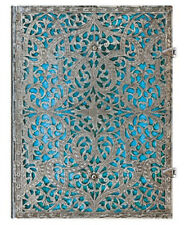 "Paperblanks JOURNAL Silver Filigree ""Maya Blue"" LINED Ultra 7x9 Book New Writing"