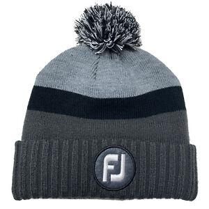 New FootJoy Golf 2021 Pom Pom Patch Winter Hat Beanie/Toboggan COLOR: Charcoal