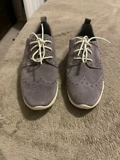 COLE HAAN Zerogrand Wingtip Oxfords Women Gray Suede Lace-Up Shoes Sz 7Preowned