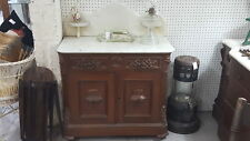 Antique Ornate 1860'S Marble Top Wash Stand Double Doors