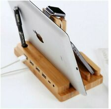 4 Port Wooden Charging Stand Dock Station Hub for iPhone iPad iWatch Samsung Tab