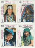India 1997 Rural Indian Women Traditional Costumes setenant stamps 4v MNH