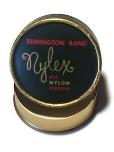 Vintage Remington Rand Nylex Typewriter Ribbon Cardboard Container Black & Gold