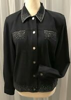Alfred Dunner Women's Cotton Jacket Embellished Snap Front Size Petite 8 NEW