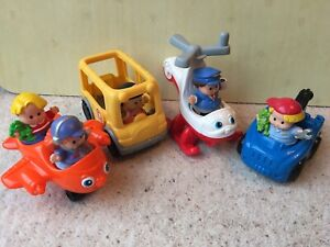 FISHER PRICE LITTLE PEOPLE - HELICOPTER - PICK UP - BUS - PLANE - CHUNKY FIGURES