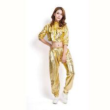 Thin Jazz Women Clothing sexy T-shirt Gold Hip Hop Dance Costume Tops