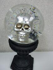 Gothic Steampunk Snow/Water Globe Skull Silver Black Snow Globe