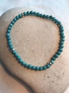 Turquoise Gemstones - Stretchy Men's Bracelet - 925 Sterling Silver Free UK P&P