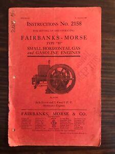 ORIGINAL 1911 Fairbanks Morse Hit Miss Engine Type H Catalog # 2158 5th Edition